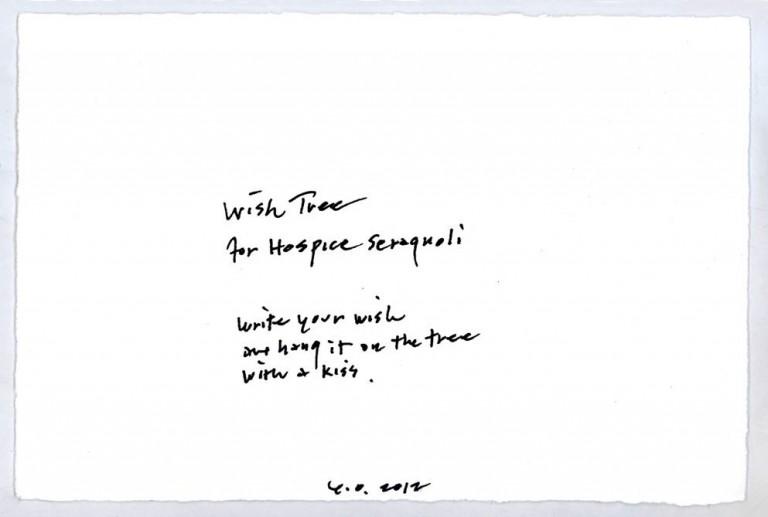 """Il """"wish"""" di Yoko Ono per la Fondazione Hospice Seràgnoli"""